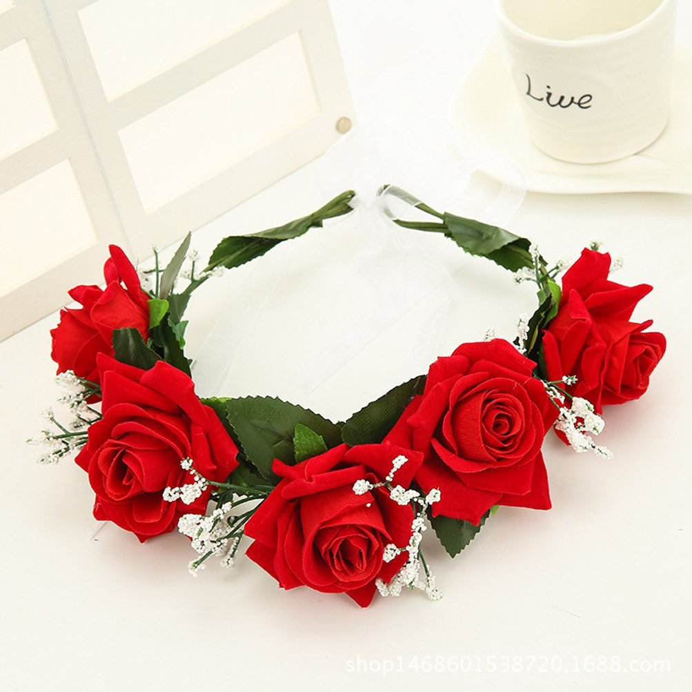 Buy Merroyal Red Rose Flower Headband Hair Crown Festival Boho