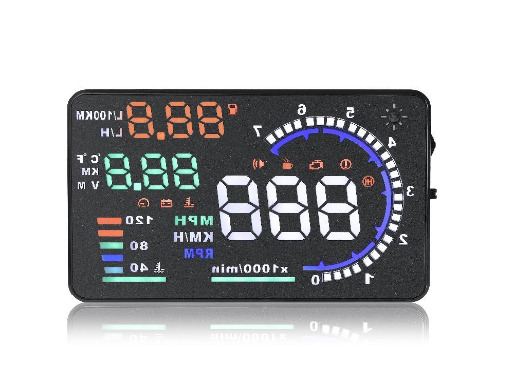 "3/"" X5 Fuel Consumption HUD Car Head Up Display OBD2 Scanner Speed Warning"