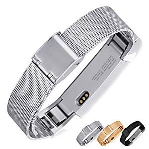 Fitbit Alta Metal Band, Nogis Adjustable Stainless Steel Wristband Mesh Milanese Loop Accessory Bracelet Watch Strap for Fitbit Alta Smart Watch (Silver White)