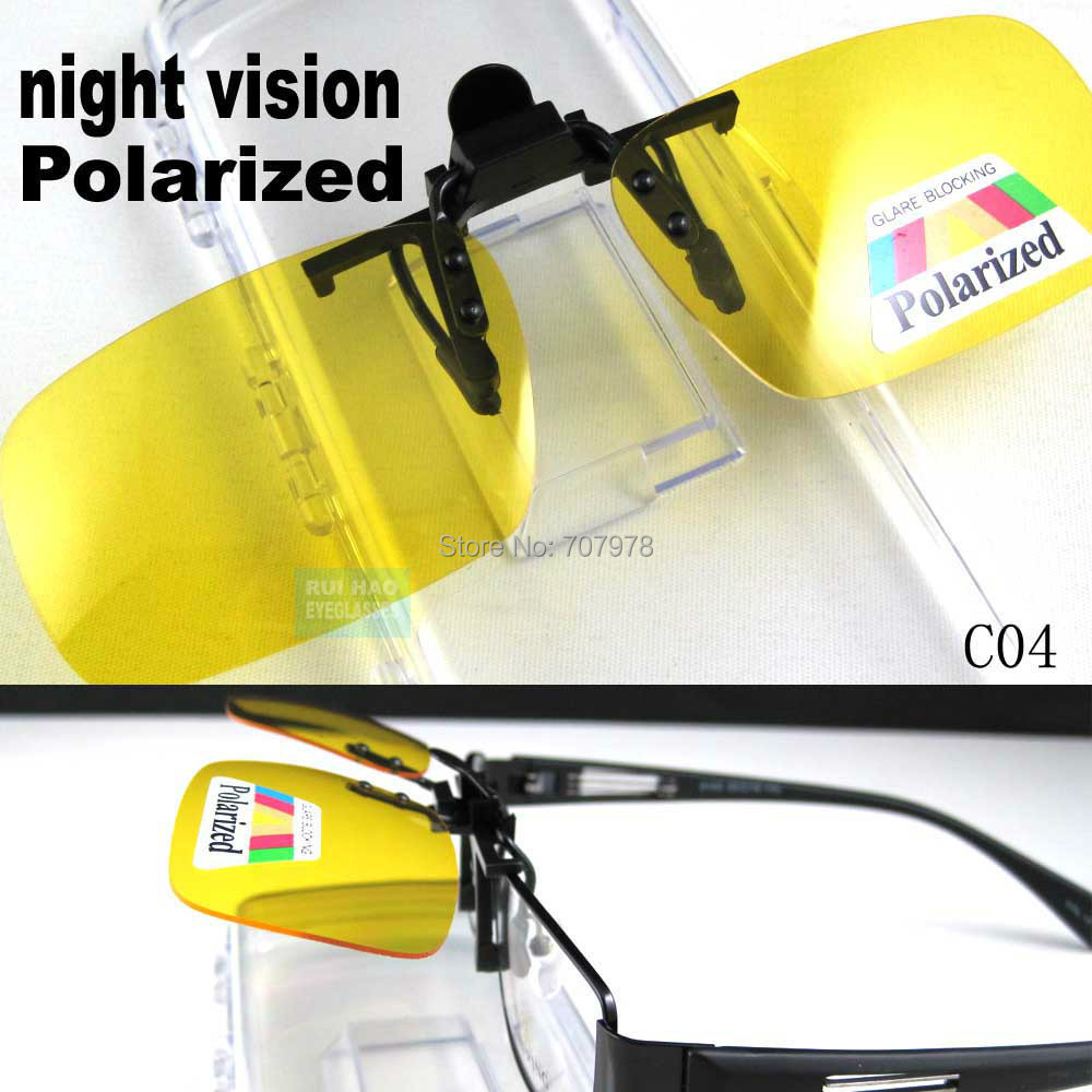 7fe0af02595 Polarized Yellow Night Vision Driver Clip On Sunglasses