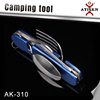 Best Gift 6 In 1 Multifunctional Camping Tools Outdoor Survival Folding Pocket Knife fork and Scoop