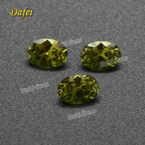 Beautiful 7x5 mm Oval Cut Synthetic Olive Cubic Zirconia Stone For Jewelry