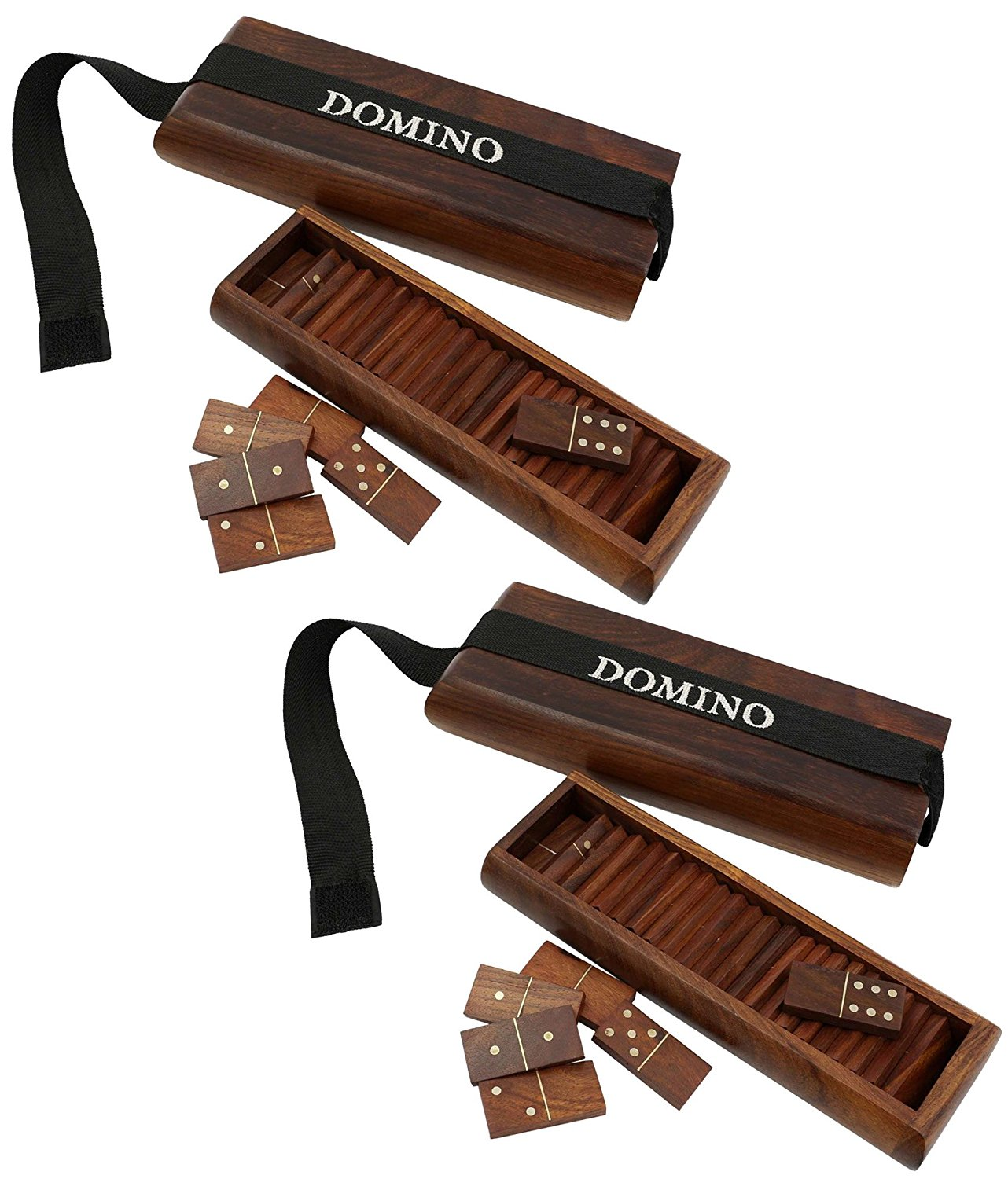 """Lot of 2 - Christmas Games Indian Wooden Domino Tile Game Tray - Complete Game Set - Travel Domino Set Double - 7"""" x 3"""" x 1.5"""""""