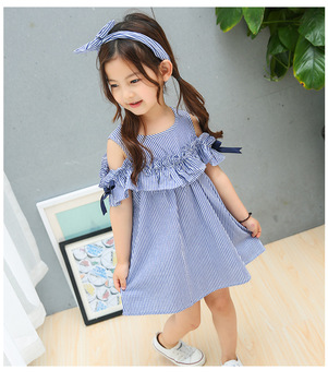 1dce4c7698bdf8 2018 New Cute Baby Kids Girls Blue Striped Princess Dress Tops Summer Crew  Neck Costume