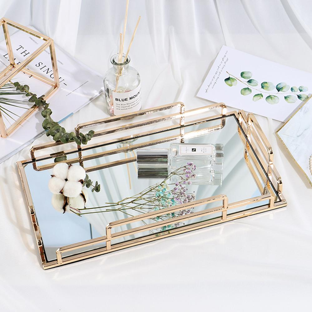 Wholesale Vanity Gold Metal Glass Mirror Serving Tray