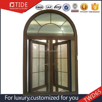 De madera estilo antiguo ventana redonda con arco marco de for Ventanas de aluminio con marco de madera