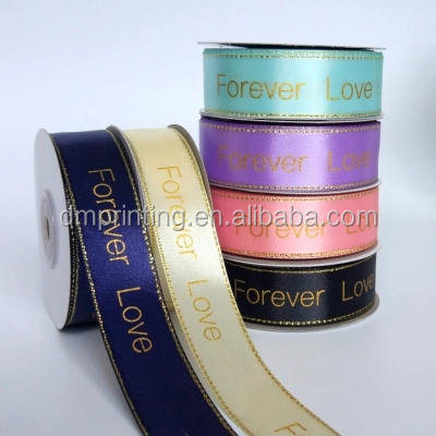 Wholesale Custom Satin Silk Ribbon with Logo Printed for Gift Packing Ribbon