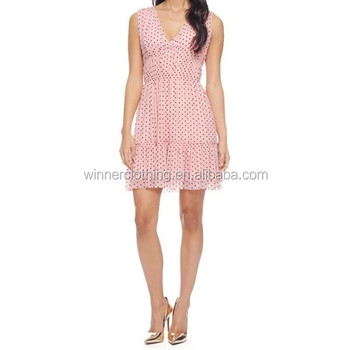 2014 hot sell fashion sleeveless V-neck ladies chiffon light pink polka dot dress