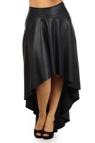 Plus Size XXS-6XL Black Faux Leather High Low/Hi Lo A-Line Pleated Skater Flare Maxi Skirt Saia Longa Woman Long Dovetail Skirts
