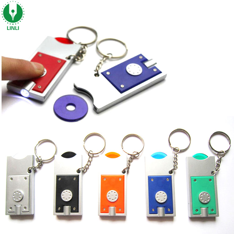 Customized Logo Promotional Plastic Led Shopping Trolley Coin Key Chains, Led Trolley Coin Keyholder, Led Trolley Coin Key Light
