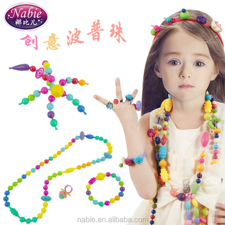 Diy fun toys pop beads jewelry make plastic beads without string beads