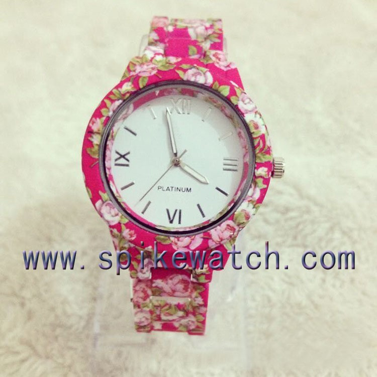Good Price Stock Flower Printed Trending Hot Products Wholesale Geneva Watch China