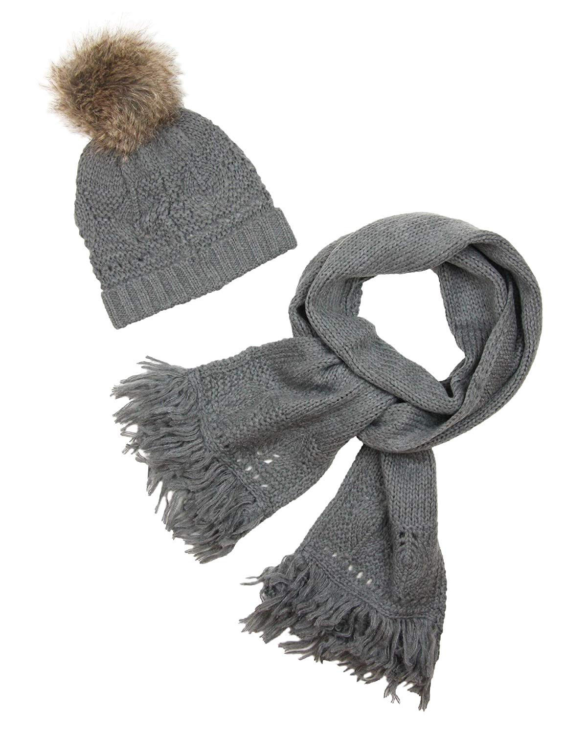 Mayoral Junior Girl's Hat with Furry Pompom and Scarf, Sizes 8-16