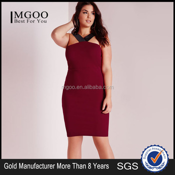 Sexy One Piece Wine Red Color Plus Size Dresshalter Cocktail Dress