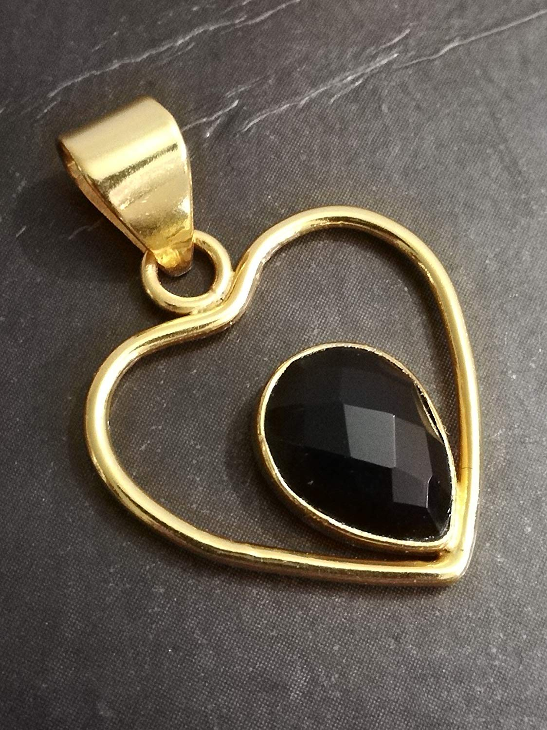Faceted Black Onyx Pendant, 925 Sterling Silver, Gold Plated Silver Pendant, Heart Shape Pendant, Teardrop Pendant, Minimalist Stone Pendant, 7th Anniversary Pendant, August Birthstone, Gift Daughter