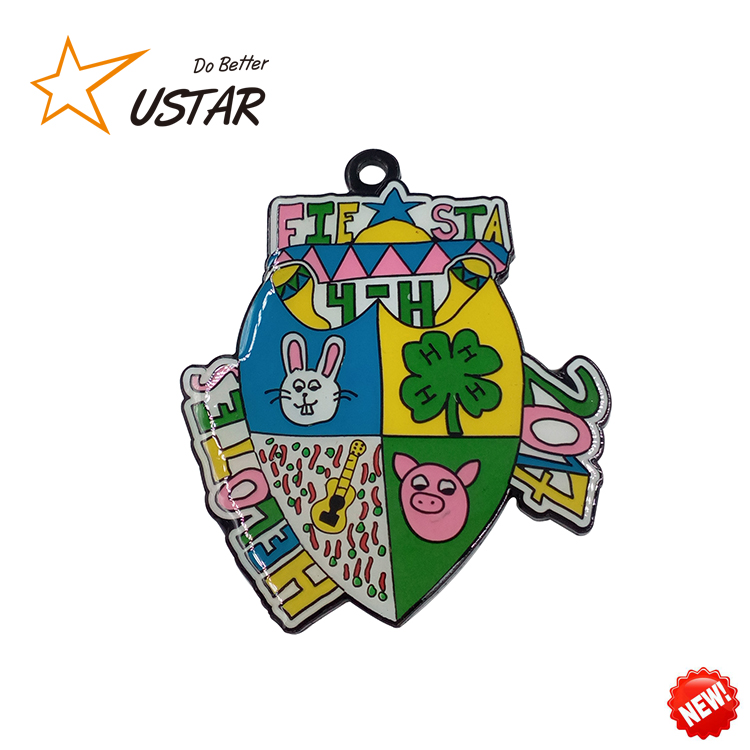 Hot Sale Alibaba Custom Made Metal Clown Carnival Running Fiesta Medal With Ribbon