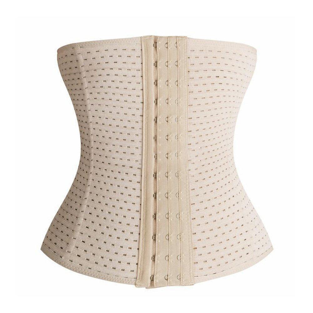 Imagine store Women Hot Body Shaper Slimming Three Breasted Waist Tummy Belt Waist Cincher Underbust Control Corset Waist Trainer S-3XL (S, Beige)
