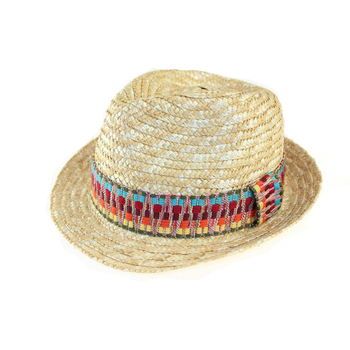 3b2ff8e7b0 Mulheres homens jazz panamá fedora chapéu de cowboy de palha de trigo com  fita colorida