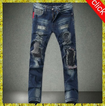 Europe Mainstream Biker Mens Jeans Pants Fitness Vintage Ripped ...