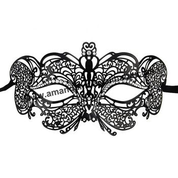 50pcs/lot 014B fashion crown princess metal mask with clear rhinestone black color luxury sexy masks