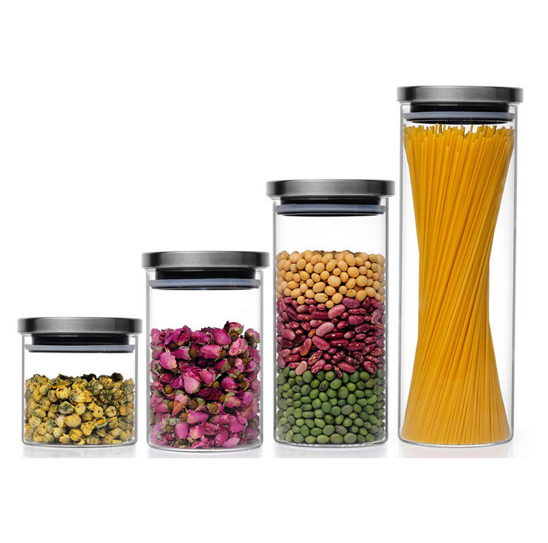 Airtight Clear Borosilicate Glass  With Stainless Steel Cap Storage Jar
