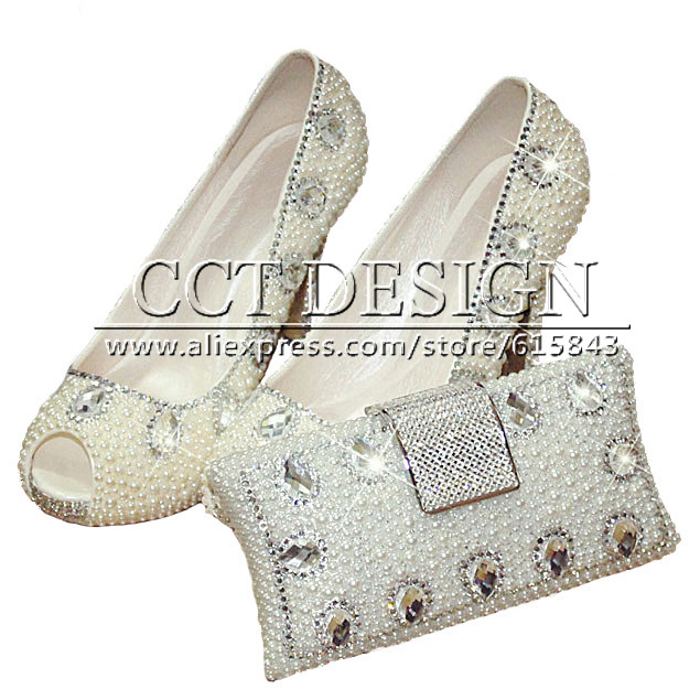 2015 Summer Style White Pearl Diamond Wedding Shoes High Heels Sexy Shoes Women Peep Toe Crystal Bridal Shoes With Matching Bag