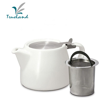 Ceramic Stump Teapot with stainless infuser and lid