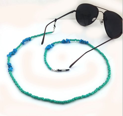 Queena Classic Personal Green Gold Beaded Eyeglass Lanyard Necklace Reading Glasses Chain