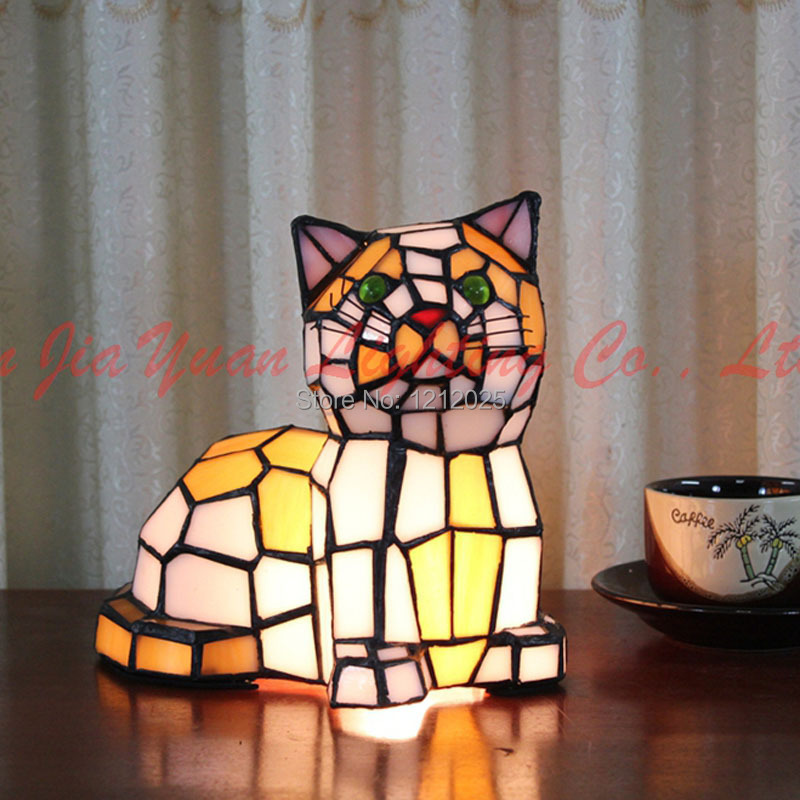 Lamparas Color Glass Led Table Lamp Hand Made Tiffany Desk: New Arrival Tiffany Stained Glass Cat Lamp Table Lamp