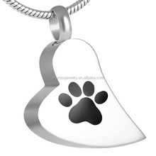 Women accessories dog cremation urn pendant necklace pet footprint broken heart cremation jewelry