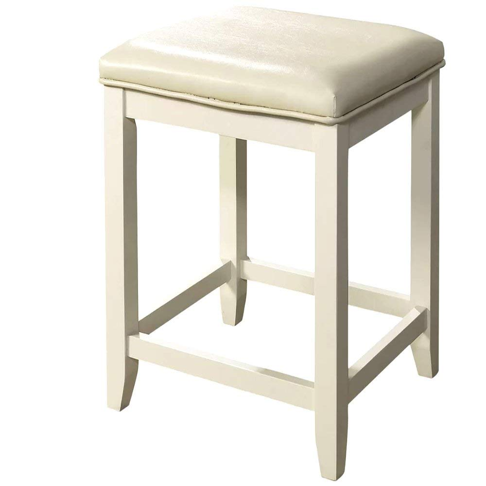 Cheap Vanity Stool, Modern Antique Contemporary Rectangular White Frame Traditional Design Vanity Stool with White Seat & E-Book