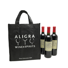 Alibaba online shopping custom silkcreen print PP non woven fabric 6 bottle wine bag