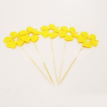 Hawaiian Yellow Blossom Luau Birthday Party Decoration Set Cake Topper Supplies