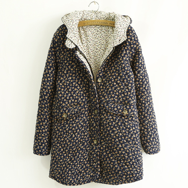 MS81177B stylish thick loose big size floral latest coat designs for women