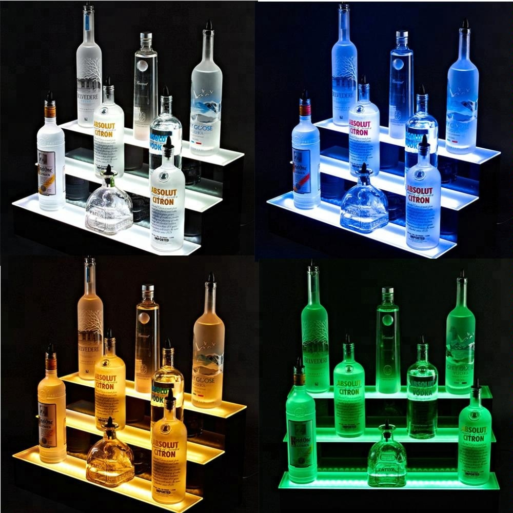 3 Tier Led Bar Shelves Lighted LED Liquor Bottle <strong>Display</strong> Floating Color Changing Home Bar Shelves Remote 16/24/36/48 Inch