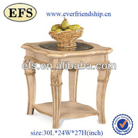 square hand carved wood end table with glass top
