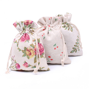 Promotional Cotton Canvas Drawstring Small Recycle Packaging Bag / Pouches