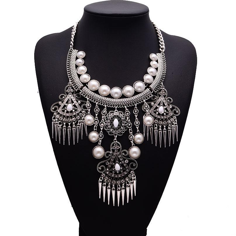 Get Quotations · New Big Brand Statement Luxury Pearl Retro Maxi Summer  Necklaces   pendants Multi Layer Silver Women e198d088a82f