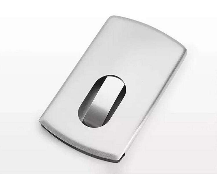 In Stock Stainless Steel Brushed Metal Business Card Holder Case