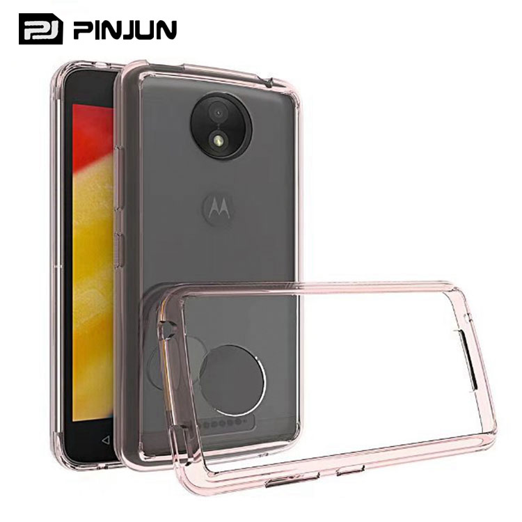 Transparent clear tpu + acrylic mobile phone case for moto c plus case