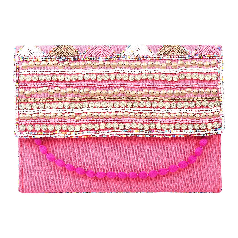 Brazeal Studio Collection Women's Ethnic Embroidered Envelope Clutch Fashion Evening handbag purse