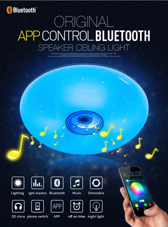 Led apps control ceiling light gadget world bangladesh new products 36w intelligent colorful ceiling lights led rgb home lamps with bluetooth aloadofball Images