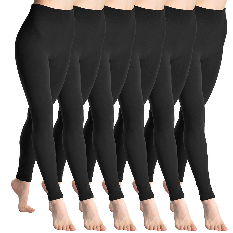 Angelina Fleece Lined Leggings,One Size,6-Pair-Black-Pack