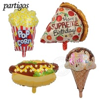 New Arrival Ice Cream, Hot dog, Popcorn, Pizza Food foil Balloons For Birthday Party Decoration Supplies Baby Shower Kid's Toys