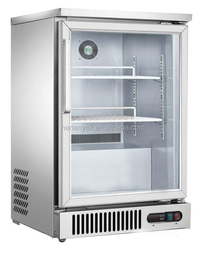 IS-SG160 2 Layers Glass Door 50 Mm Transparent Door Fridge for Sale Immersion Bath Bar Counter Wine Cooler