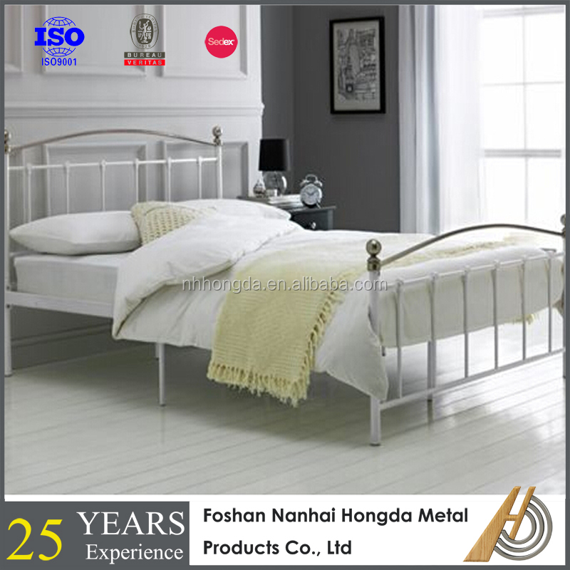 Glamourous chrome plated metal bed with acrylic detail on headboard and footboard
