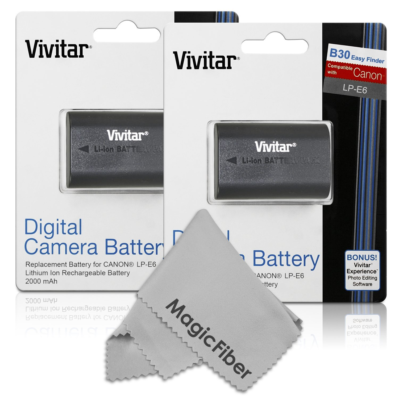 (2 Pack) Vivitar LP-E6 LP-E6N Ultra High Capacity 2000mAH Li-ion Batteries for CANON 5D Mark II, 5D Mark III, EOS 6D, 60D, 7D, 7D Mark II, 70D (Canon LP-E6 Replacement)