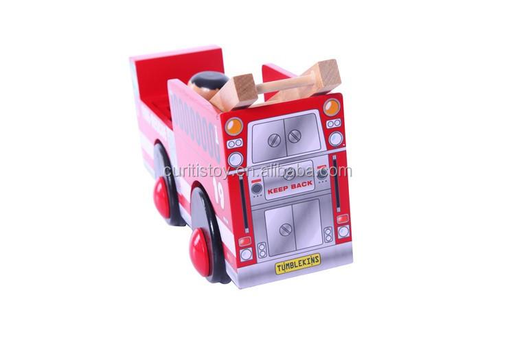Gerçek Ahşap Güzel El Yapımı Kırmızı Boyama Yangın Kurtarma Motorlar