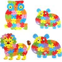 Children Toys Early Childhood Puzzle Cartoon Animal Jigsaw Puzzle Wooden Building Blocks