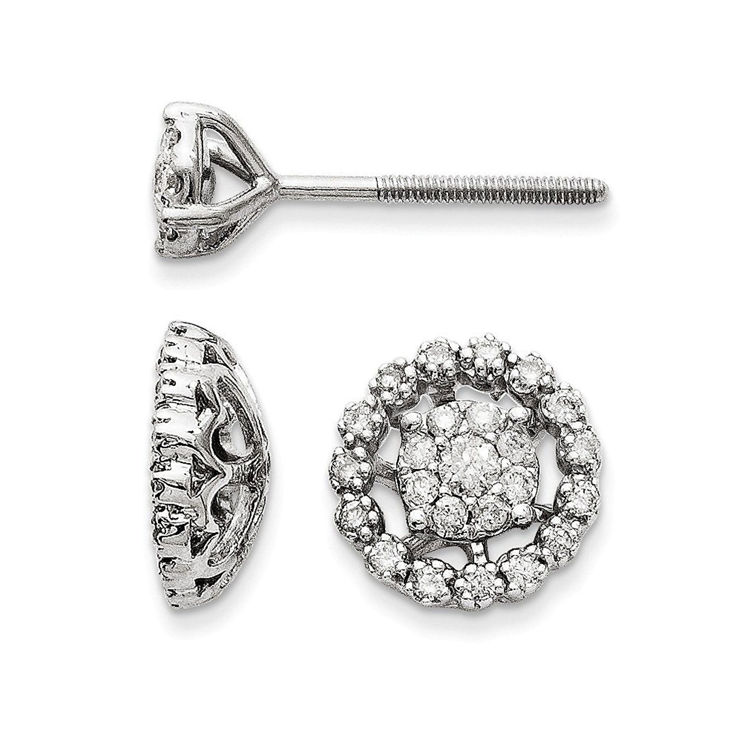 Get Quotations 14k White Gold Polished Small Flower And Jacket Diamond Post Earrings